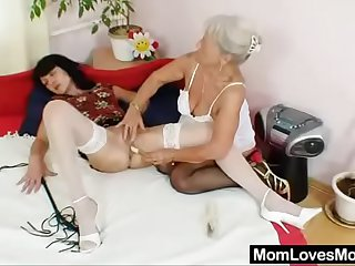 Shaggy oma licks attractive milf with respect to homo action