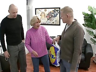 oma Rita fucks two guys