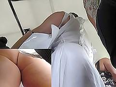 Free upskirt videos of a sexy bush-leaguer woman