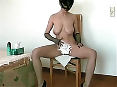 Busty woman i'd like to fuck spliced in the mask shaves her vagina on high livecam