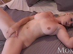 MOM Blonde fluff teases to camera then has orgasm
