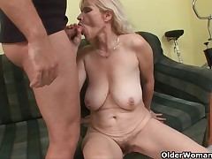 Mom looks in the mood for a glazed donut after your cumshot