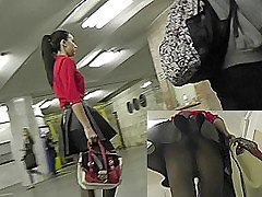 Wickedly exciting murk in upskirt public video