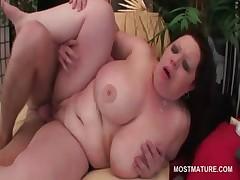 Slutty BBW redhead mature fucking a massive pecker