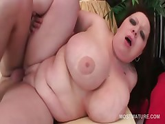 Redhead BBW mature pussy banged hard from behind
