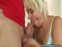 Aged cleaning woman is banged by two lads