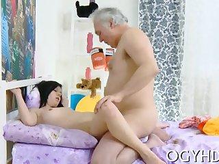 Correct juvenile babe rides old pole