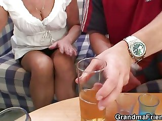 Drinking leads just about threesome orgy down granny