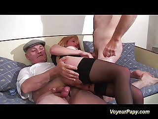 Papy and his friend fucking a big tits redhead tot