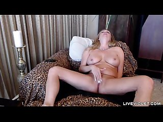 Squirting blonde cougar Nikki upon perfect huge boobs