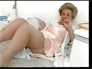 Chunky grey granny teases there satin underwear