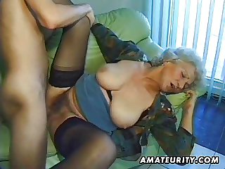 Elderly tiro full-grown wife sucks and fucks with cumshot