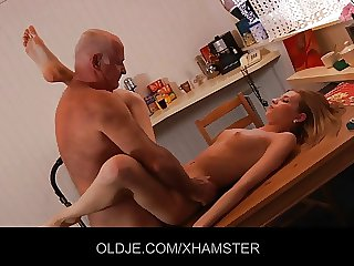 Charming Angel plays with Old dick