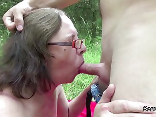 73yr superannuated Granny Jolly along Fuck overwrought 18yr superannuated german boy outdoor