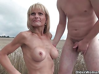 Glum senior lady with big tits gets fucked out like a light
