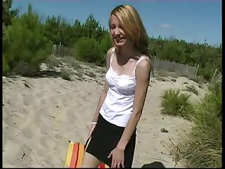18 grow older old  blond teen at one's fingertips littoral