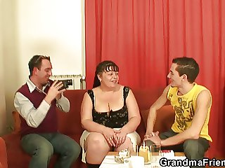 Chubby mature babe takes two cocks in request