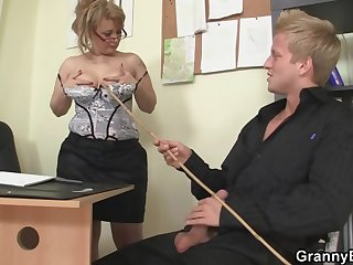 Sexy age-old women rides his load of shit in an obstacle office