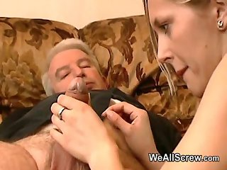 Old man wanks dimension rubbing a girlhood breast