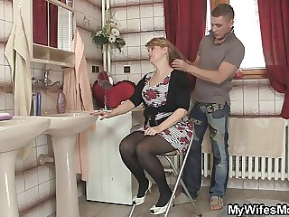 His wife leaves and he bangs the brush hot mom