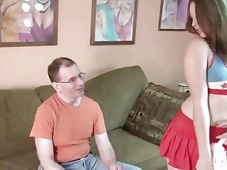 Old geek fucks hot Teen Cheerleader