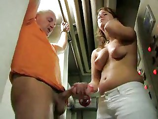 Tied handjob together with denial