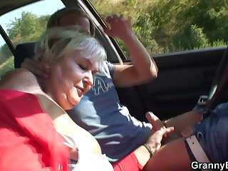 80 seniority aged bitch gets screwed alongside the car
