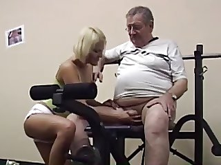 Older daddy plus blondie more gym