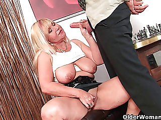 Slutty grandma sucks cock together with gets a mouth busy of cum