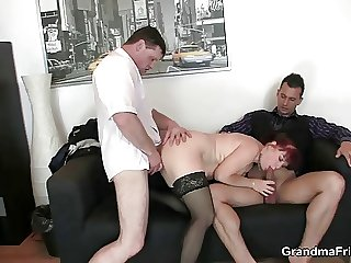 Hot business son takes two dicks
