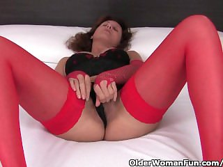 Hot Granny In Stockings Coupled with Underwear Rubs Her Hairy Pussy