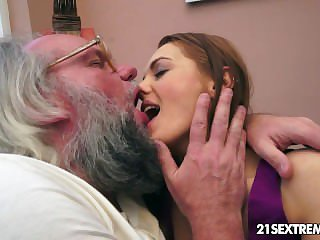 Elderly man bangs Dominica Fox's tight-fisted young pussy