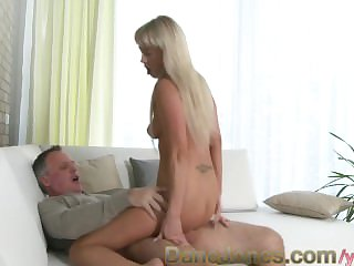 DaneJones Shaved blonde pamper gets pussy eaten and rides a permanent cock