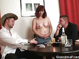 Poker playing granny is fucked wide of two guys