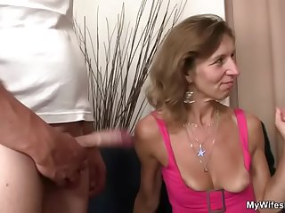 She watches her ancient old woman gets fucked
