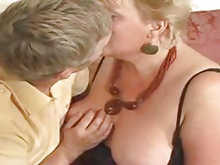 Large golden haired granny drilled off out of one's mind youthful dude