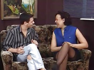 German MILF in stockings tricks her aerobics teacher to dear one