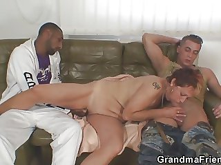 Lonely grandma gets pounded by two oversexed guys