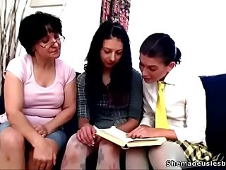 Old teacher asks two girlhood near undress and masturbate shaved pussies