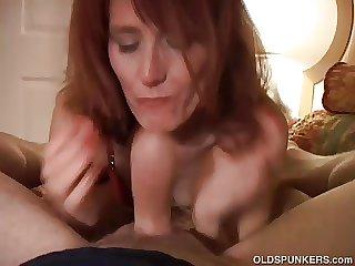Bizarre old redhead is so horny she fucks the camerawoman