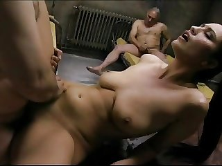 Teen fucked 2 Old perveted not far from Apartment