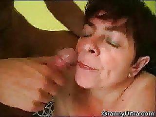 Horny Granny Gets A Nip Of Cum