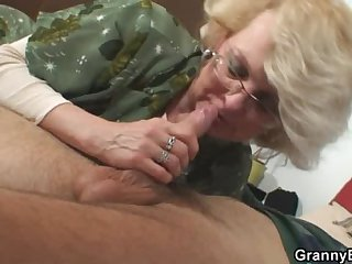 She pleases his sex-crazed young cock