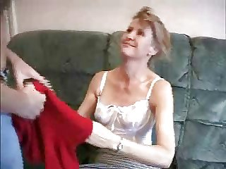 mature doll with a lad in eradicate affect sofa