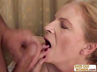Blonde aged grandma gets facial