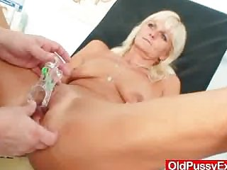 Skinny blond cougar extraordinary pussy checkup