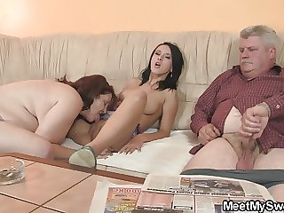 His unpretentious girl seduced by quite a distance granny and age-old daddy