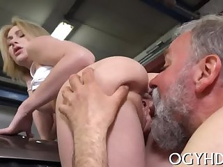Steaming young chick fucks grandpapa