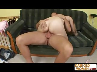 Blonde chap-fallen granny rides his young cock