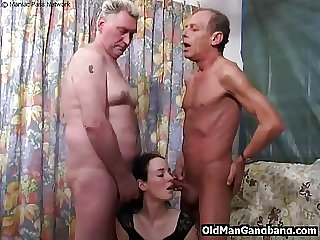 Simmering grandpas make the beast with two backs younger slut